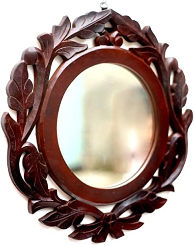 AMAZE SHOPPEE Wood Iron Wall Mirror (40 x 40 cm, Brown)