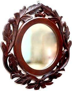 AMAZE SHOPPEE Wood Iron Wall Mirror (Brown_40 X 40 Cm)
