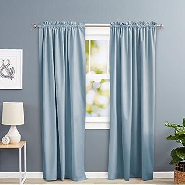 AmazonBasics Room Darkening Blackout Curtain Set - 52  x 84 , Smoke Blue