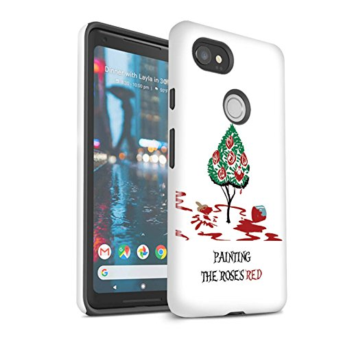 Gloss Phone Case for Google Pixel 2 XL Fantasy Wonderland Art Queen of Hearts/Painting Design Glossy Tough Shock Proof Bumper Cover