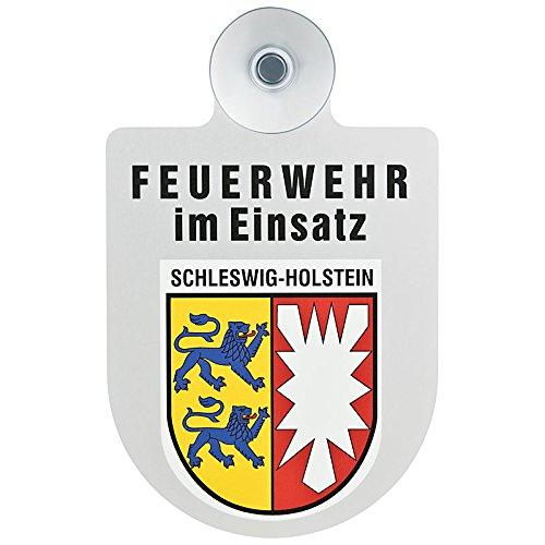 Feuerwehr im Einsatz KFZ Aluschild mit Saugnapf und Bundesland Wappen (Schleswig-Holstein)
