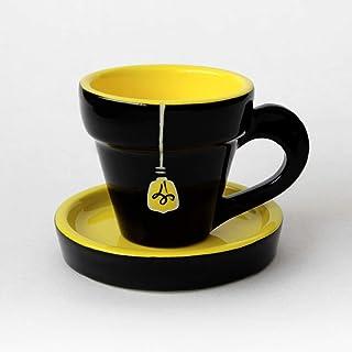 Taza de café con platillo, Más decoraciones disponibles, Cerámica artesanal hecha en Italia, Diseño de bombilla - Al 5,7 x...