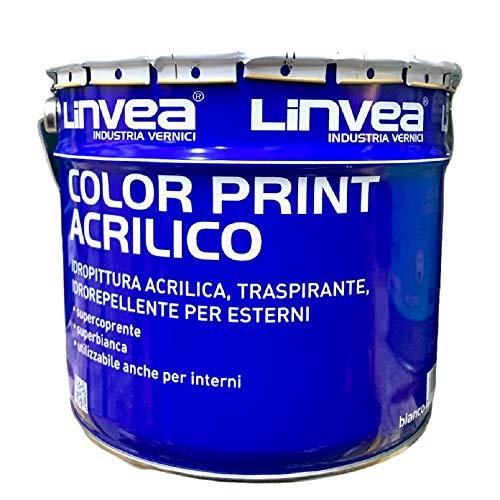 LINVEA Color Print Acrilico 10 Litri Pittura Traspirante, Idrorepellente Per Muri Interni ed Esterni Con Alta Umidità (bagni, cucine) Evita Condensa, Non Sfoglia, Non Assorbe Acqua