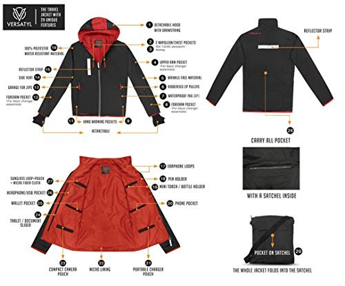 Product shot showing features of mens travel jacket with hidden pockets.