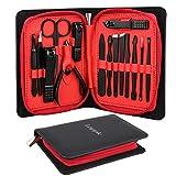 Manicura Pedicura Set 15 PCS Profesional Cortaúñas Acero Inoxidable Grooming Kit - Con Estuche De Viaje De Cuero Lujoso