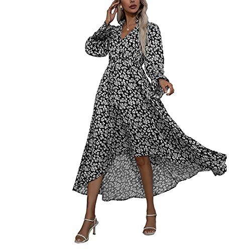 Dazzerake Vestido Largo para Mujer Vestido Elegante con Estampado Floral Mangas Largas Cuello en V Vestido Casual A-Line para Playa Vacaciones Primavera Otoño Moda (Negro, M)