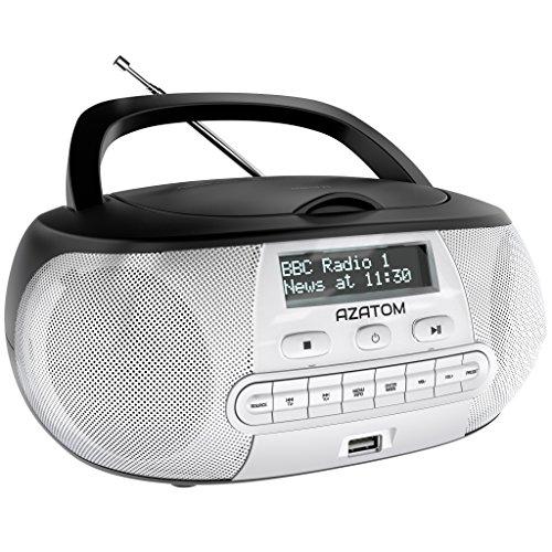 Zenith DAB Digital FM Radio CD Boombox: AZATOM Zenith Z2 - CD Player - DAB/DAB+ 'Future Ready' - FM Radio - USB MP3 Player - Premium Stereo Sound - Mains or Battery Powered - Portable - (Black/Silver)