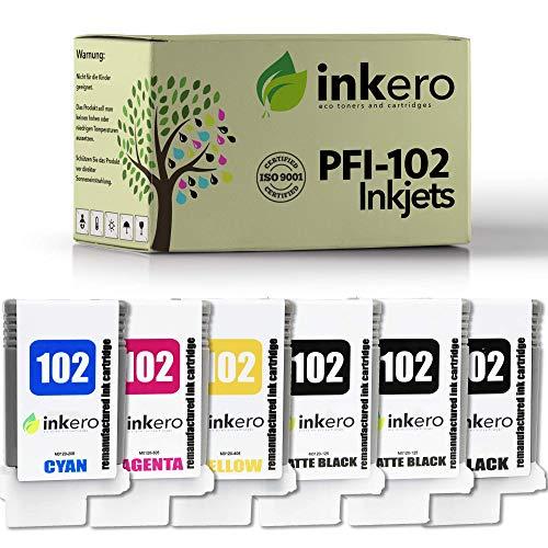 Inkero Compatible con Canon PFI-102 (6 unidades: 2 x MBK/BK/C/M/Y).