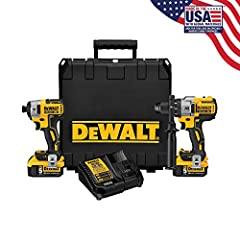 """HAMMER DRILL: DCD996 Hammer Drill features includes 3-speed levels, high performance (0-2,000 rpm), an all-metal transmission IMPACT DRIVER: DCF887 20V MAX* 1/4"""" impact driver provides 1,825 in-lbs of max torque at fast 0-3,250 RPM speed and 0-3,600 ..."""