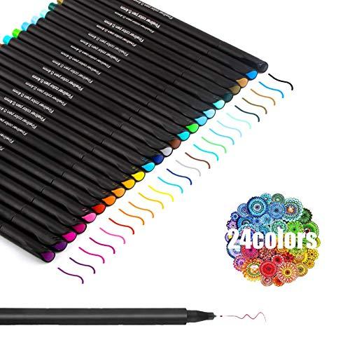 🌻24 Colores Populares: el bolígrafo Vakki fineliner contiene 24 colores de uso común que no se repiten, y estos colores brillantes te hacen sentir agradable. Con 24 colores diferentes, está seguro de encontrar los tonos y estilos que desea. 🌻Calidad ...