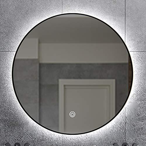 GETZ Spejo de Baño Redondo con Iluminación LED Espejo Redondo Pared con Marco de Aluminio, Espejo de Tocador de Maquillaje Retroiluminado Iluminado con Interruptor de Sensor Táctil, Dorado/Negro