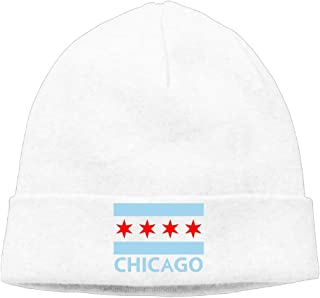 Sincerity-First Mens&Womens Chicago City Flag Outdoor Daily Beanie Hat Skull Cap Black