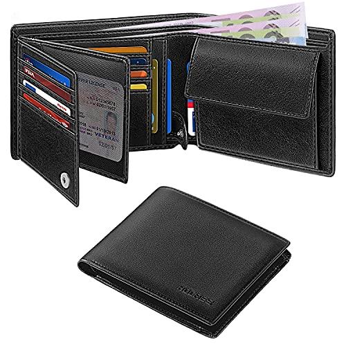 HOCRES Geldbörsen für Männer Muti-Functional RFID Blocking Leather Slim Wallet mit 15 Kreditkarteninhabern, 2 Banknotenfächern und 2 ID-Fenster Minimalist Wallets Männer mit Geschenkbox