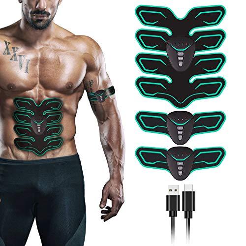 FYLINA EMS Trainingsgerät, ABS Muskelstimulator Elektro Trainingsgerät Muskelstimulation Professionelle USB Elektrisch Bauchmuskeltrainer für Damen Herren (8 Pads)
