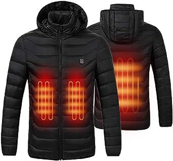 Lightweight Heated Jacket Unisex Men Women Windproof USB Electric Heating Down Jacket Coat Hoodie (Power Bank NOT Include)