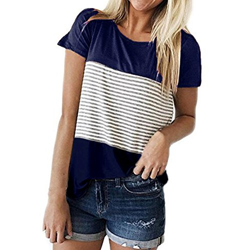Best Prices! iLUGU Women Short Sleeve Triple Color Block Summer Vacation Round Neck Stripe T-Shirt C...