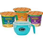 Annie's Macaroni & Cheese Cup Variety Pack White Cheddar, Aged Cheddar, and Gluten Free Rice Pasta & Cheddar with By The Cup Macaroni & Cheese Bowl