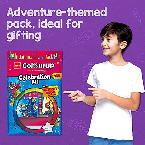 Cello ColourUP Celebration Kit - Mega Gift Pack | 15 Oil Pastels | Sketch Pens | 12 Jumbo Wax Crayons | 8 Assorted Items | Free Activity Book |... 6