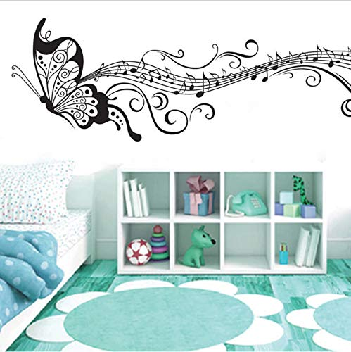 TYKCRt Wall Sticker Black Music Butterfly Wall Decor Stave Note S PVC Wall Decals Adhesive Vinyl Home Decoration For Kids Room Removable