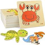 GOLDGE 16PCS Puzzles de Madera Juguetes Bebes, Juguetes Montessoris,Puzzles de Madera Educativos, Juego de Regalo Educativo Preescolar de Aprendizaje temprano para niños