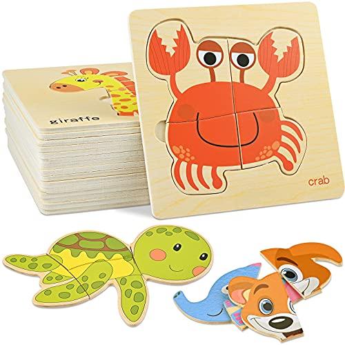 GOLDGE 16 juguetes para niños con animales de rompecabezas de madera (modelo aleatorio), juegos de niña 1 año 2 3 4 años educativo Pattern bloques regalo para niño niña