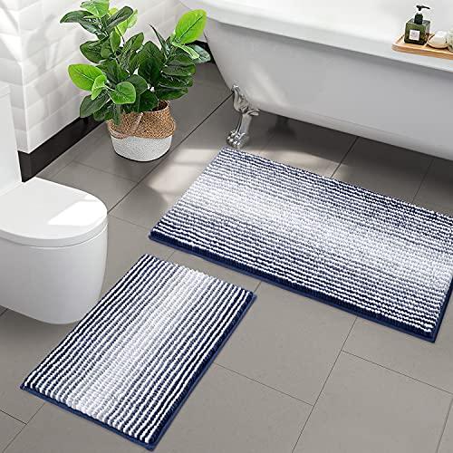 "Bathroom Rugs and Mats Sets, 2 Piece Thick Absorbent Chenille Bath Mat Rug Set Non Slip, Soft Shaggy Bath Room Floor Mats for Bathroom, Machine Washable (20"" x 32"" Plus 16"" x 24"", Navy)"