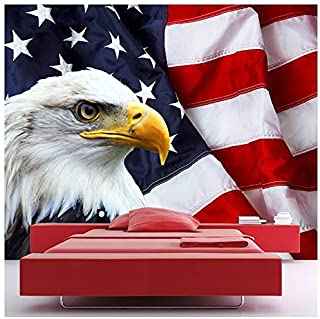 American Flag & Bald Eagle Bird Animals Wall Mural USA Photo Wallpaper available in 8 Sizes Gigantic Digital