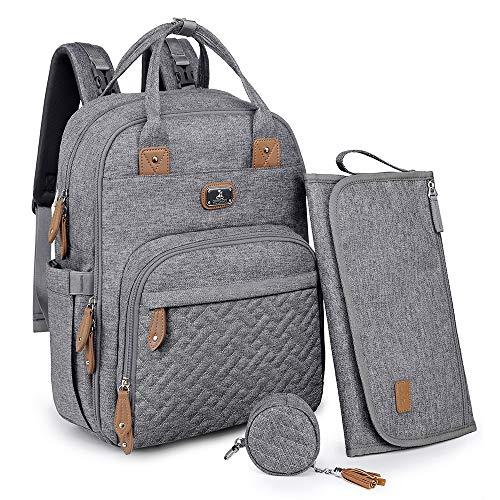 Wickeltasche Rucksack - Dikaslon Großer Wickelrucksack mit Multifunktions-Babytaschen und mobiler Wickelauflage - Schnullerhalter und Kinderwagengurte - für Mama und Papa (grau)