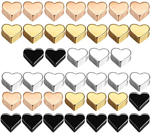 40pcs Metal Heart Shaped Spacer Beads Small Hole Heart Charms Loose Beads Craft Accessories for DIY Necklace Jewelry Earring Bracelet Pendant Making 4 Colors