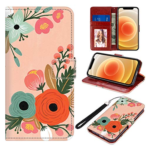 """Designed for iPhone 12 Pro Max Wallet Case PU Leather Folio Flip Protective Cover Orange Flowers Floral Magnetic Credit Card Holder with Hand Strap Kickstand Women Girls for iPhone 12 Pro Max 6.7"""""""