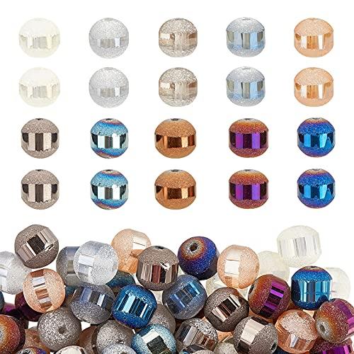 PandaHall Cuentas de cristal redondas de 8 mm, 10 colores, 200 cuentas de vidrio esmerilado a granel espaciador para joyería y manualidades
