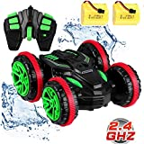 Blexy RC Stunt Car Remote Control Car Boat 4WD 6CH 2.4Ghz Off Road Electric Racing Vehicle 360° Spins & Flips Land Water Multifunction Amphibious Tank (Black)