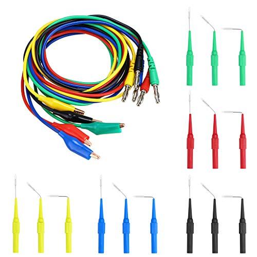 Sumnacon 5 Color 20 Pcs Identified Automotive Back Probe Lead Set - 15 Pcs 3 Configurations 30V Back Probe Pin + 5 Pcs 4mm Banana Plug to Alligator Clip Circuit Test Wires 500V 5A