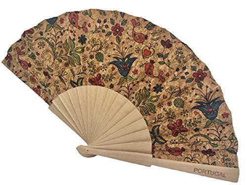 Kaibe Abanico de corcho portugués y madera abanico plegable de mano y decorativo (Multicolor pájaro)