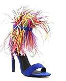 Cape Robbin Yuki-7 Feather Cuff Open Toe Stiletto Heeled Sandals Royal Blue (10)
