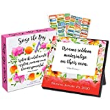 Seize The Day 2020 Calendar Box Edition Bundle - Deluxe 2020 Inspirational Quotes 365 Daily Pages Box Calendar with Over 100 Calendar Stickers