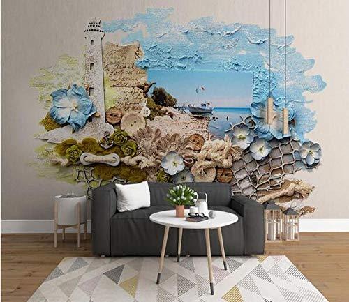 Fototapete 3D dreidimensionale Relief mediterrane Landschaft Wandaufkleber Poster wasserdichte Vlies Tapete Restaurant Wohnzimmer Cafe Lounge Bar-200cmx140cm