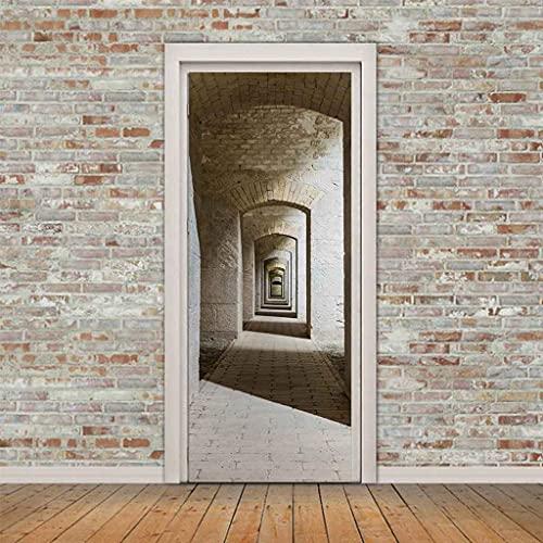 SEKCTV 3D Etiqueta de Puerta Pasarela de horno de ladrillos ruinoso mural de puerta Vinilo Autoadhesivo Removible Murales Papel Pintado Fotográfico Posters para Cocina dormitorio Decoraciones 88x200c