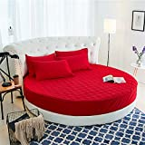 SHEETS&BED Matelasse Drap Housse, Couverture de lit Couleur Pure 100% Coton Épaissir Hiver Hôtel Lit Rond Matelas Couverture Draps + 25cm-Rouge diamètre220cm(87inch)+2 Pillowcase