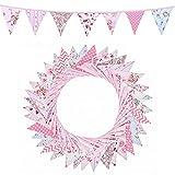 FENRIR Guirnalda de banderines para habitación de los niños, para exteriores, guirnalda de banderines (36 unidades), para bodas, Navidad, fiestas de cumpleaños (rosa)