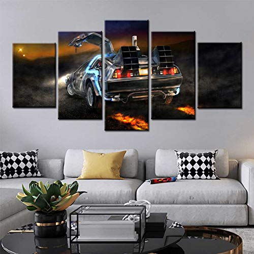 WFUBY 5 Pieces Canvas Printing Decorative Paintings car Canvas Wall Art Posters and Prints Picture Back to The Future Canvas Wall Pictures for Living Room decor-40x60x2 40x80x2 40x100cm