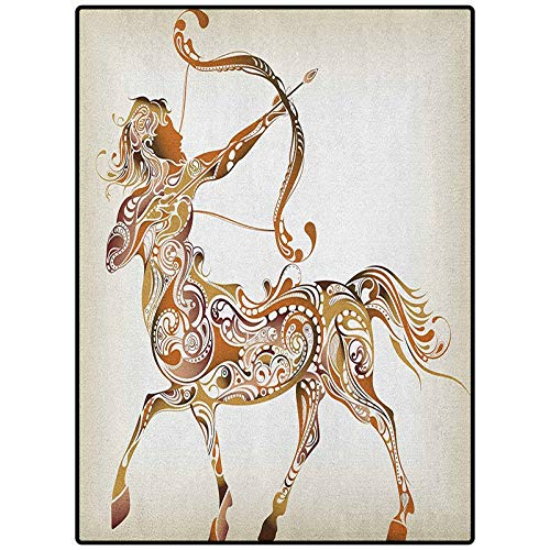 Zodiac Sagittarius Abstract Area Rug Fashion Color Living Room Carpets Abstract Pattern of Centaur Archer with Bow and Arrow Spirals Caramel Pale Brown 48' x 36'