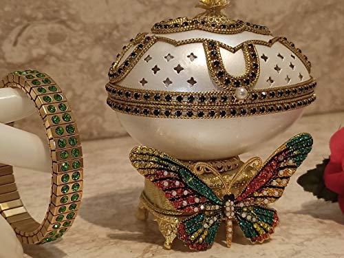 Caja de música con diseño de huevo Faberge y arco iris para mujer con diseño de huevo de Faberge y brazalete a juego de oro de 24 quilates