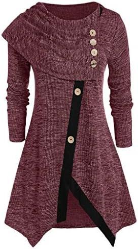 Womens Long Sleeve Cowl Neck Asymmetrical Hemline Flowy Tunic Top Plus Size Asymmetrical Space product image