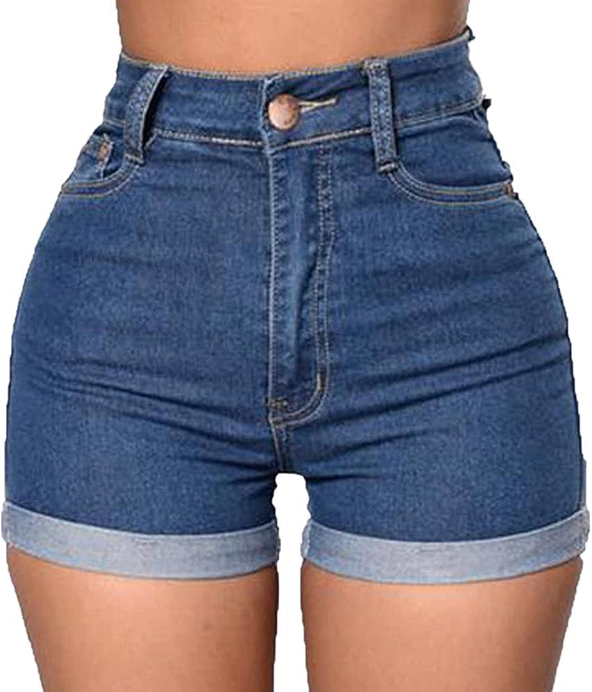 Dark Blue Jean Shorts for Women Casual Hip Lift Waist Denim Shorts Short Jeans