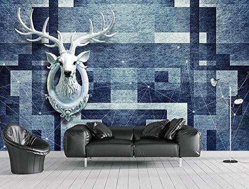 Fototapete Vliesgemälde Home dekoration Poster Bild Design abstrakte Retro geometrische Hirschkopf Tapete Wohnzimmer Korridor Großes Wandbild-200cmx140cm