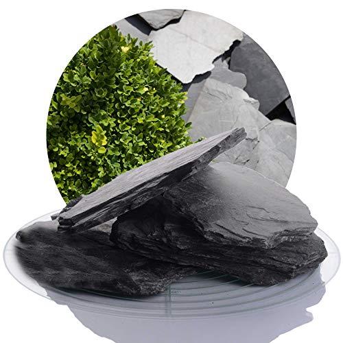 25 kg Deutscher Schiefersplitt in verschiedenen Größen, schwarzer Naturstein Splitt ideal zur Gartengestaltung (Schiefer Splitt, 70-200 mm)