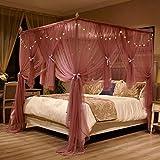 SETSCZY Red para cama con 3 aberturas, 4 postes de esquina, cortina de lujo, diseño de princesa, elegante, de encaje, cuadrada, doble capa, 180 × 220 × 200 cm