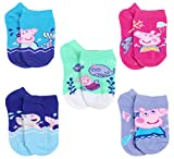Peppa Pig Little Girl's 5 Pack No Show Socks, Sock Size 4-6 (Shoe Size 7-10), Turquoise