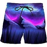 QWKLNRA Hombre Pantalones Cortos De Playa Mens Swim Shorts Púrpura Starry Cielo Impreso Pantalones Cortos De Verano Surf Beach Short'S Viajes Mens Swim Trunks Ligero Poliéster Rápido Tintorería